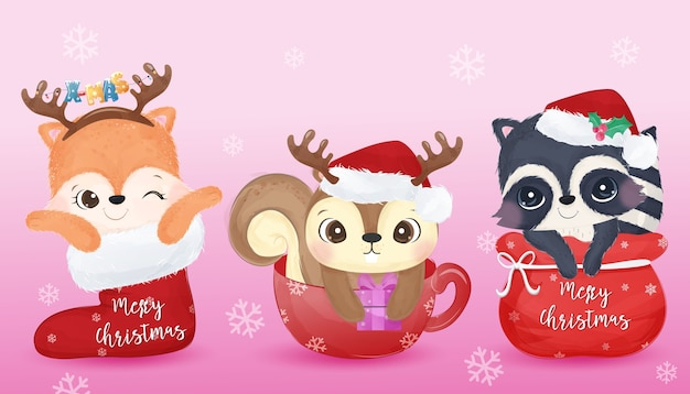 Christmas greeting  with adorable animals in watercolor. christmas  illustration.