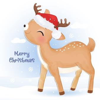 Рождественское поздравление с очаровательными оленями. рождественские иллюстрации.