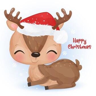 Рождественское приветствие с милым маленьким оленем. рождественские иллюстрации.