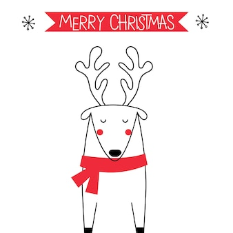 Christmas greeting with cute doodle reindeer