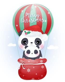 Рождественское поздравление с милой мамочкой и маленькой пандой. рождественские иллюстрации.