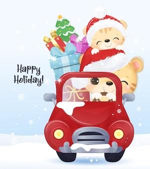 かわいいママと赤ちゃんトラとのクリスマスの挨拶。