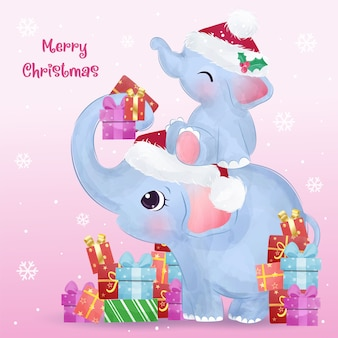 Christmas greeting  with cute mommy and baby elephant. christmas  illustration.