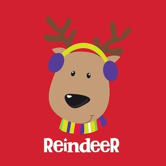 Рождественское поздравление с милым дизайном оленей