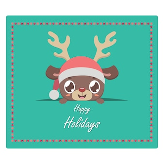 Christmas greeting with cute reindeer peeking out
