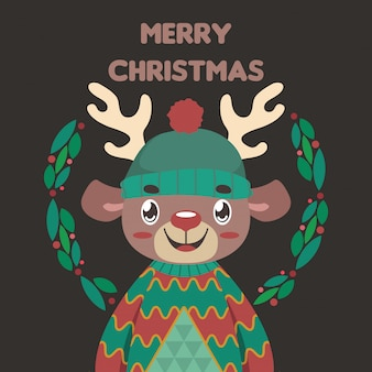 Christmas greeting with a cute reindeer in an ugly christmas sweater