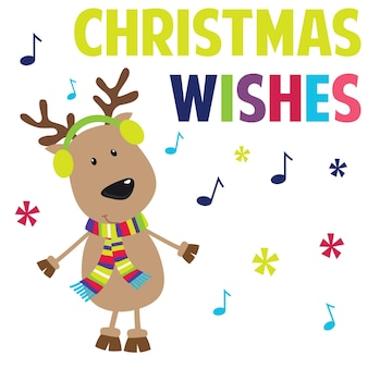 かわいいトナカイとクリスマスの挨拶