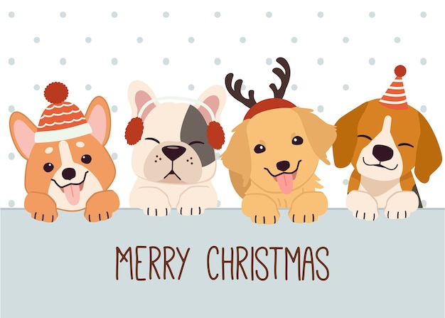 Christmas greeting with lovely dogs illustration