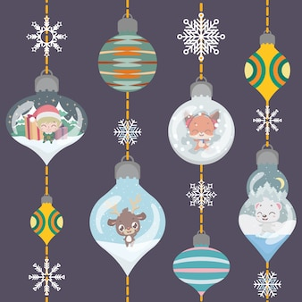 Christmas greeting with lovely ornamental baubles