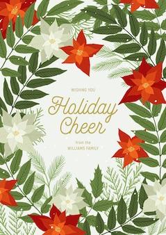 Рождественское поздравление с пуансеттией, сосновыми и еловыми ветками, растениями, листьями, снегом. рождество и приглашение с новым годом. иллюстрация, праздничная открытка