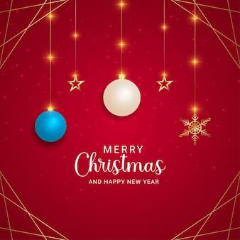 현실적인 장식 흰색과 하늘색 공 황금 별 크리스마스 조명과 빨간색 배경으로 크리스마스 인사말