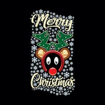 Christmas greeting with reindeer headbands