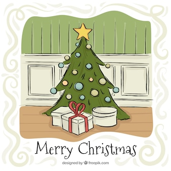 Christmas greeting with tree and hand drawn gifts