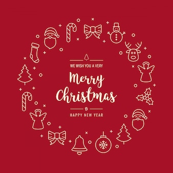 Christmas greeting wreath icons elements red background