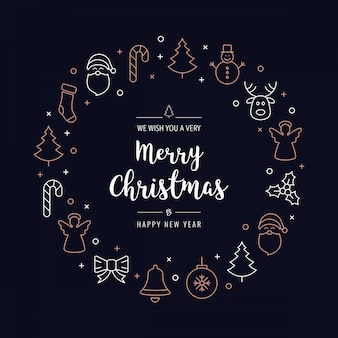 Christmas greeting wreath icons