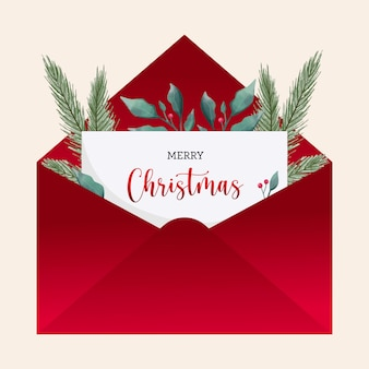 Christmas greetings card envelope with watercolor leaves