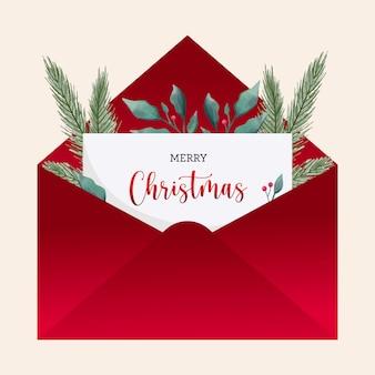 Рождественские поздравительные открытки конверт с акварельными листьями