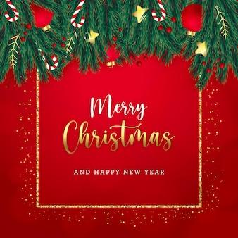 Рождественская поздравительная открытка с елочными украшениями и золотым блеском