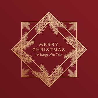 크리스마스 인사말 현대 타이포그래피와 손으로 그린 가문비나무 가지가 있는 황금 반짝이 형상 프레임 배너. 프리미엄 품질의 새해 스케치 카드 레이아웃. 겨울 휴가 상징 개념입니다. 외딴