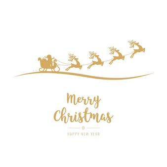 Christmas greetings golden santa sleigh flying background