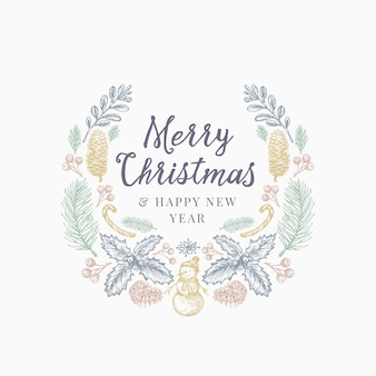 Christmas greetings hand drawn sketch wreath, banner or card template.