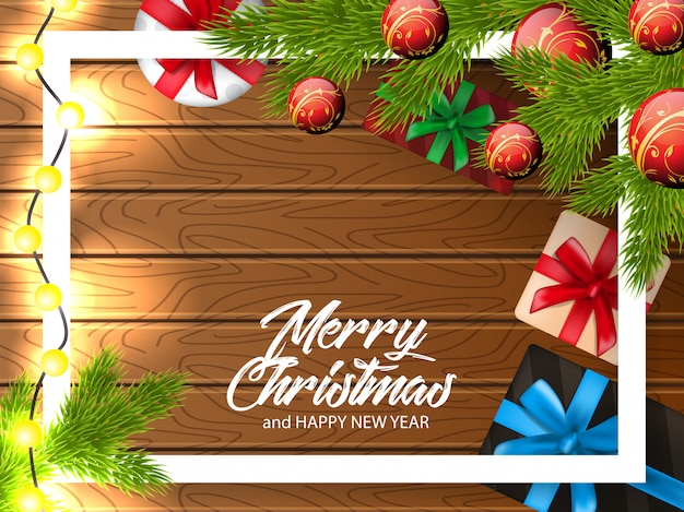 장식 나무 배경으로 크리스마스 인사 그림
