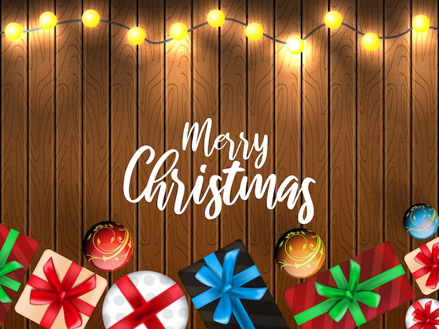 Christmas greetings illustration with decorations wooden background