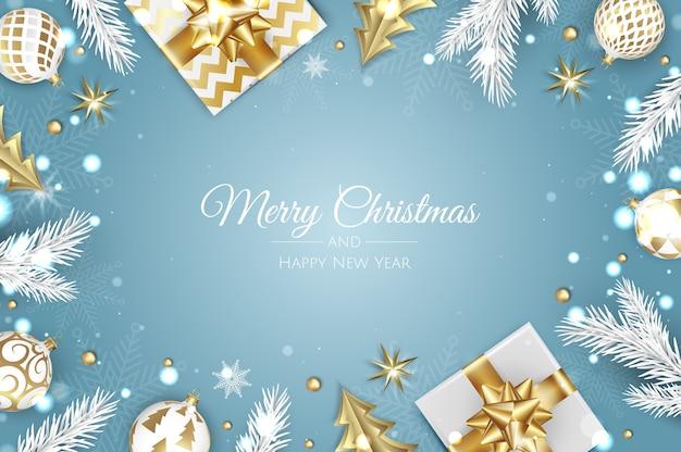 クリスマスの挨拶。トップビューギフトボックス、クリスマスデコレーションボール、ギフトボックス