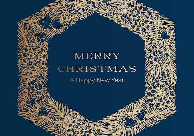 クリスマスの挨拶ベクトルバナーまたはカバー青い背景テンプレート