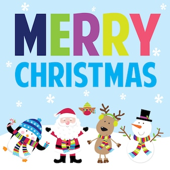 Christmas greetings with cute christmas characters