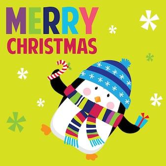 Рождественские поздравления с милым пингвином красочным дизайном