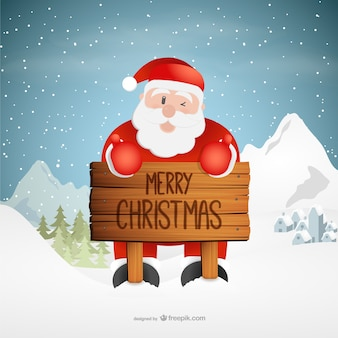 Christmas greetings with santa claus cartoon