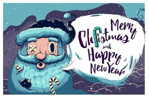 サンタクロースのイラストとクリスマスの挨拶