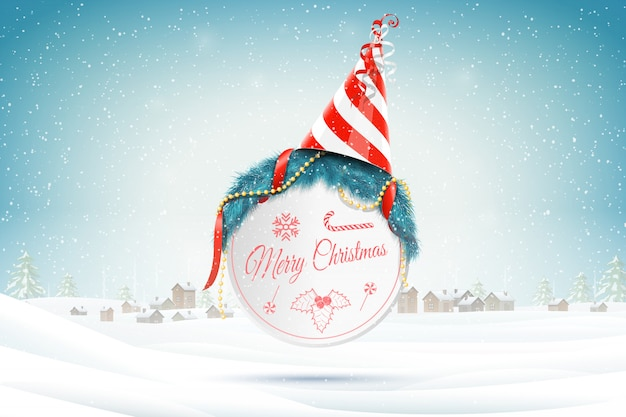 Christmas greetings on xmas background
