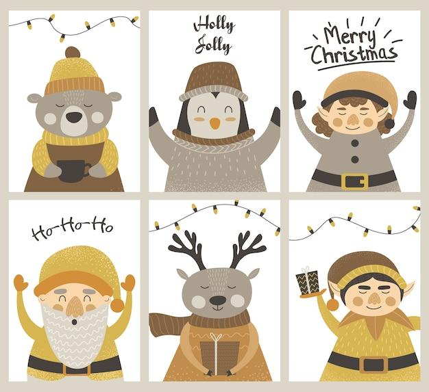 エルフ、サンタ、鹿、クマ、ペンギン、雪だるまとクリスマスのグレッティングカード