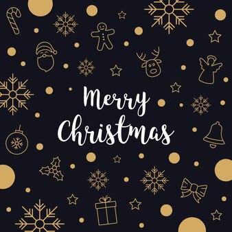 Рождественский gretting текст золотой значок карты черный фон