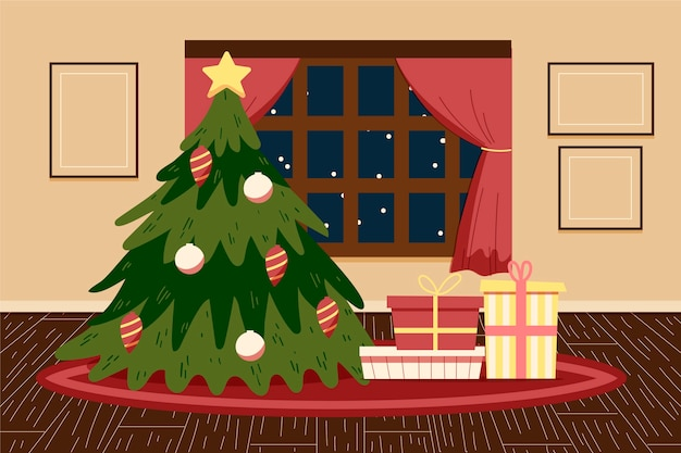 Christmas hand drawn background