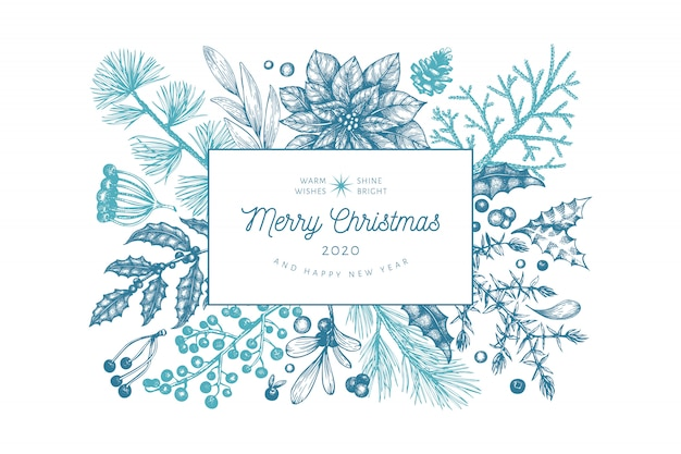 Christmas hand drawn blue greeting card template.