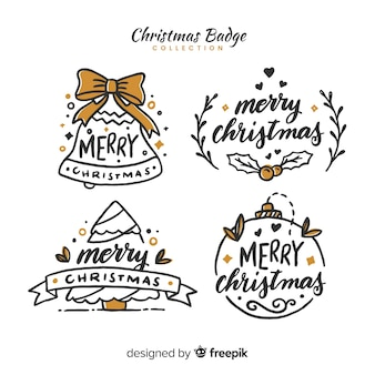 Christmas hand drawn calligraphic badges collection