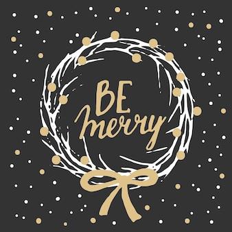 クリスマスツリーの雪片モミの枝のボールと花輪とクリスマス手描きカード
