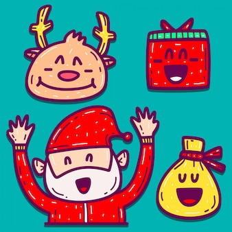 Christmas hand drawn cartoon doodle design