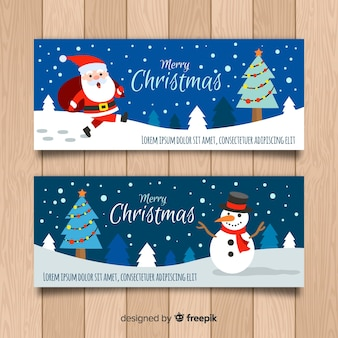 Christmas hand drawn characters banner
