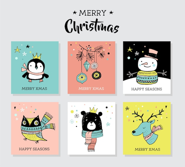 Christmas hand drawn cute doodles, illustrations and greeting cards with penguin, bear, deer