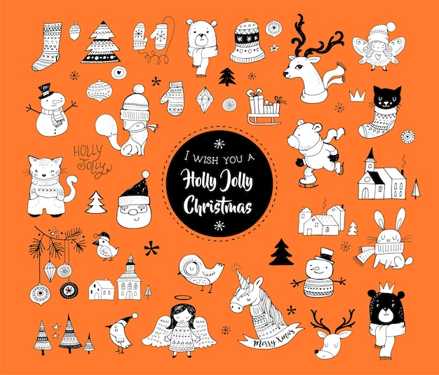 크리스마스 손으로 그린 귀여운 낙서, 스티커, 일러스트 및 요소