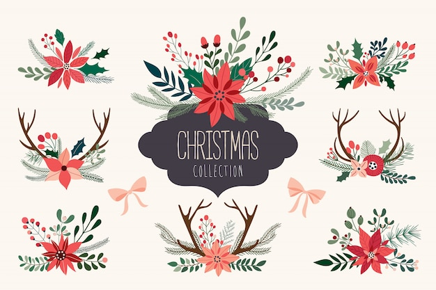 Christmas hand drawn decorative collection of floral arrangements