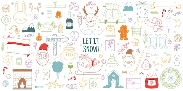 크리스마스 손으로 그린 낙서. 귀여운 겨울 크리스마스 휴일 요소, 크리스마스 트리, 순록, 산타클로스 벡터 삽화 세트. 손으로 그린 크리스마스 한다면