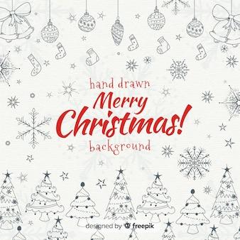 Фон из рождественских рисованных элементов