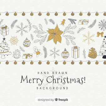 Christmas hand drawn elements background