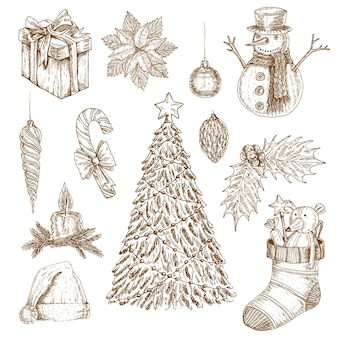 Christmas hand drawn elements set