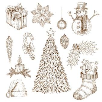 Рождественские рука нарисованные элементы набор